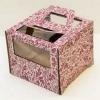 Короб картонный бордовый с орнаментом с окном (300х300х190) с ручками