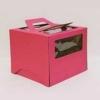 Короб картонный розовый с окном (300х300х190) с ручками