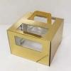 Короб картонный золотой с окном (300х300х190) с ручками